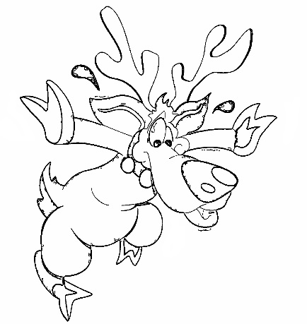 Christmas Rudolph Coloring Page
