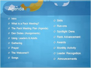 cub scout pack meeting agenda template