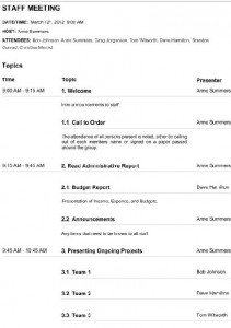 development all staff meeting agenda template