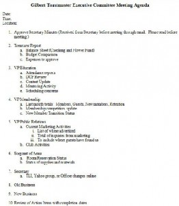 executive meeting agenda template