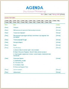 pta board meeting agenda template