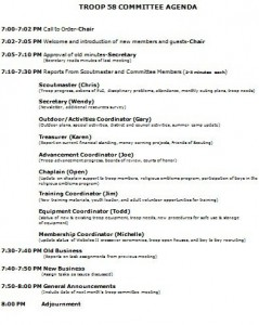 scout committee meeting agenda template