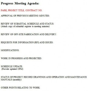 Weekly Construction Meeting Agenda Template
