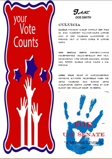 Political election campaign flyer template word
