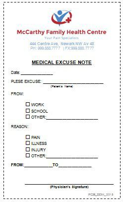 Medical Excuse Doctors Note
