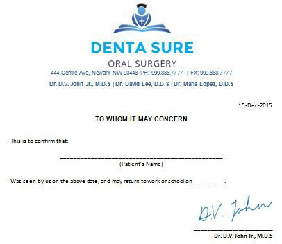 Oral Surgery Doctors Note