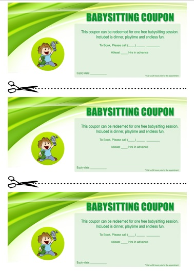 Babysitting Coupon Book Template 20