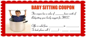 Funny Babysitting Coupon 2