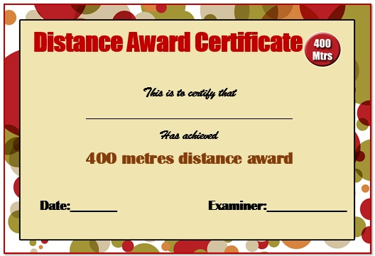 400m Swimming Certificate