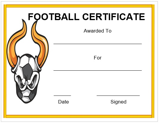 Funny Football Certificate