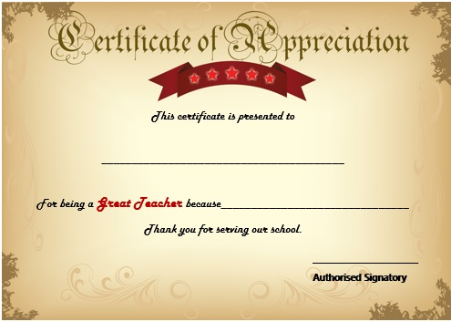 Best Teacher Award Certificate