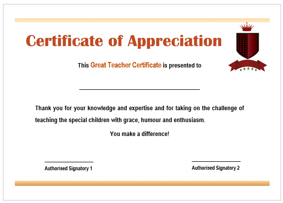 Best Teacher Certificate Format
