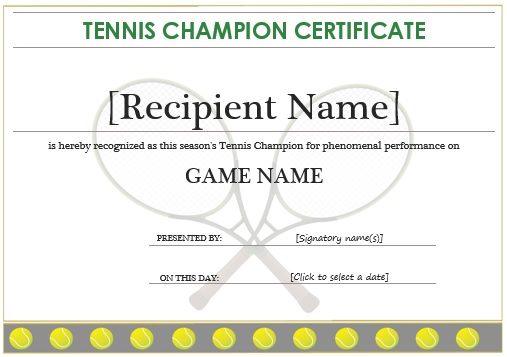 Tennis champion certificate