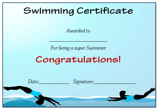 Blue Swimming Certificate