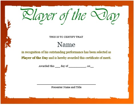 certificate for player of the day