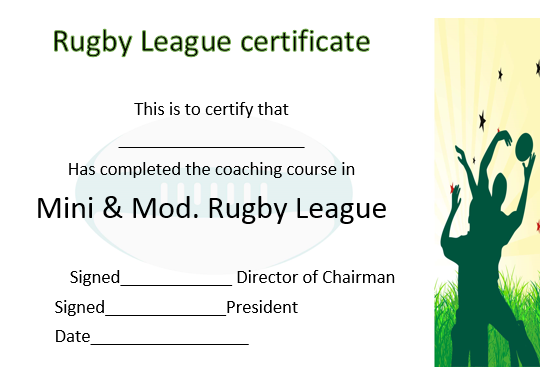 Coaching Certificate Rugby League