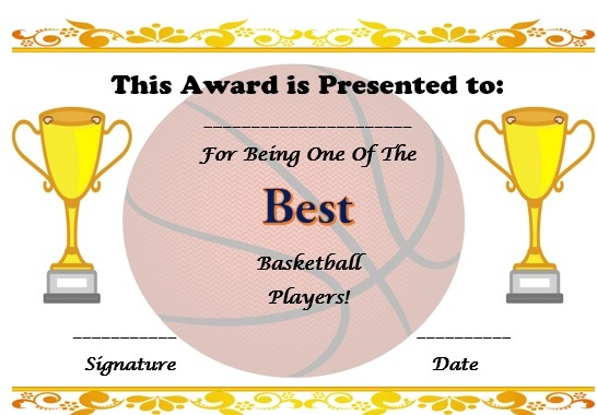 free basketball certificate template