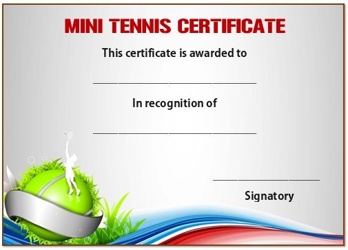 Mini tennis certificate