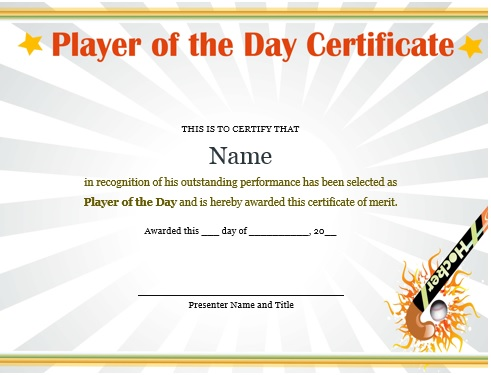 player of the day certificate hockey