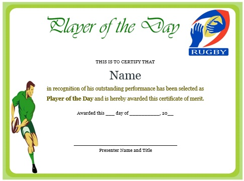 player of the day certificate rugby