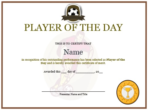 player of the day certificate soccer