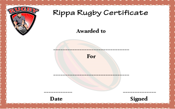 Rippa Rugby Certificate Template