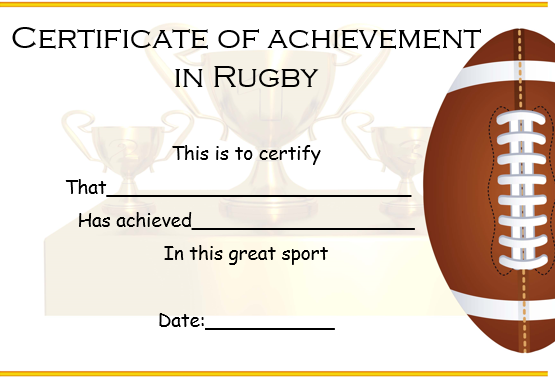 Rugby Achievement Certificate