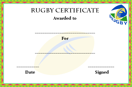 Rugby Certificate Templates