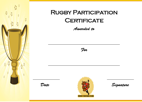 Rugby Participation Award Certificate