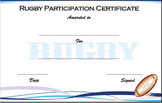 Rugby Participation Certificate