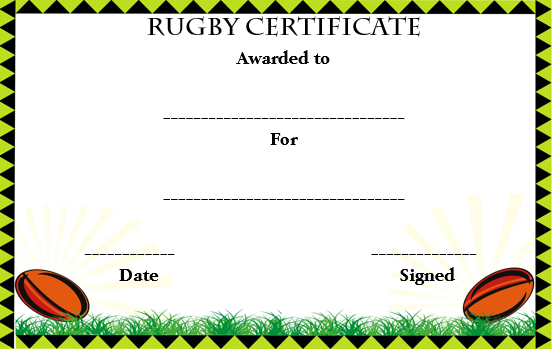 Rugby Sport Certificate