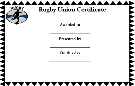 Rugby Union Certificate