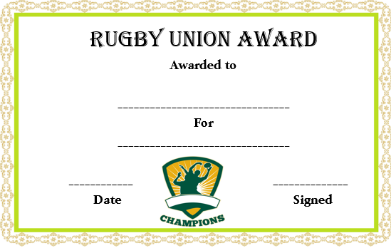 Rugby Union Certificate Template