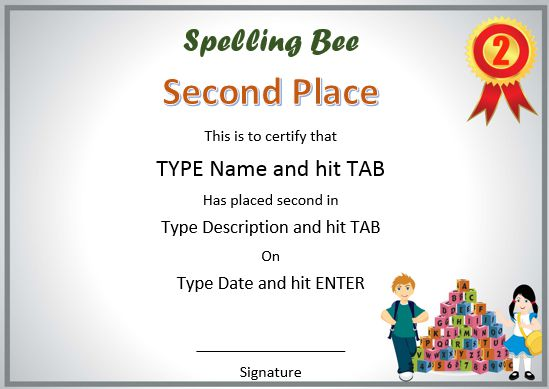 second place spelling bee certificates