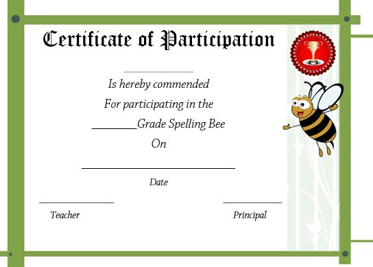 spelling bee certificate of participation 2