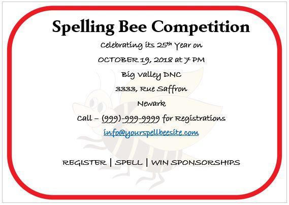 Spelling Bee Invitation Template 1