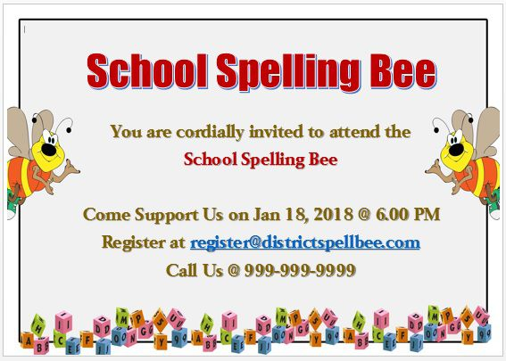 Spelling Bee Invitation Template 13