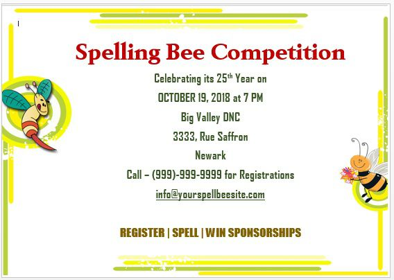 Spelling Bee Invitation Template 15