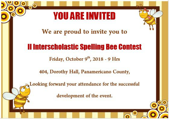 Spelling Bee Invitation Template 3