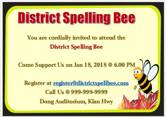 Spelling Bee Invitation Template 8