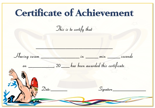 Swimming Achievement Certificate Template