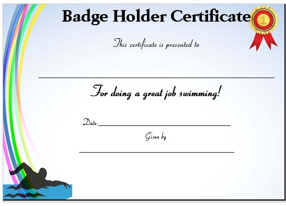 Swimming Certificate and Badge Holder
