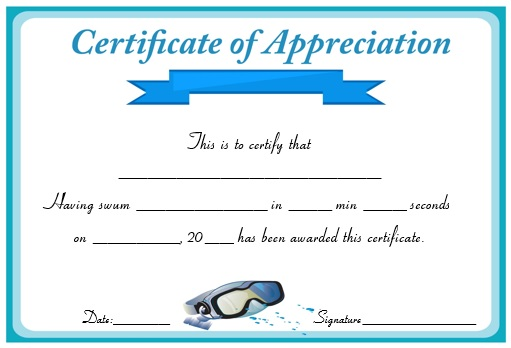 Swimming Certificate of Appreciation
