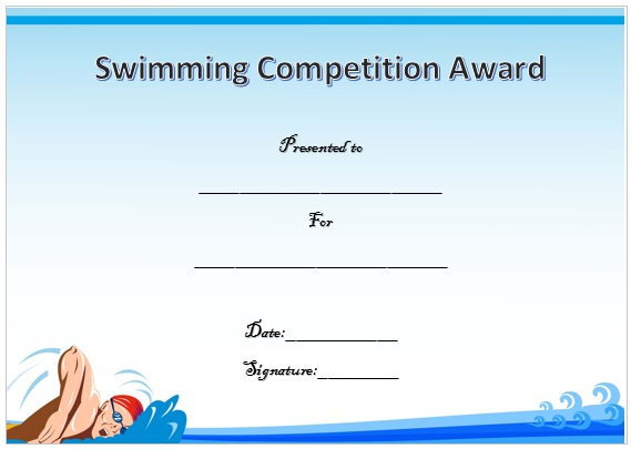 Swimming Competition Certificate