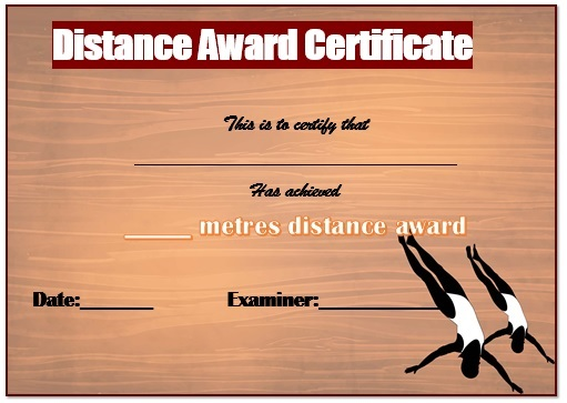 Swimming Distance Certificate