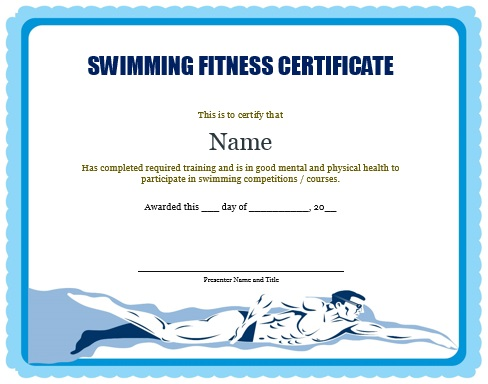Swimming Fitness Certificate