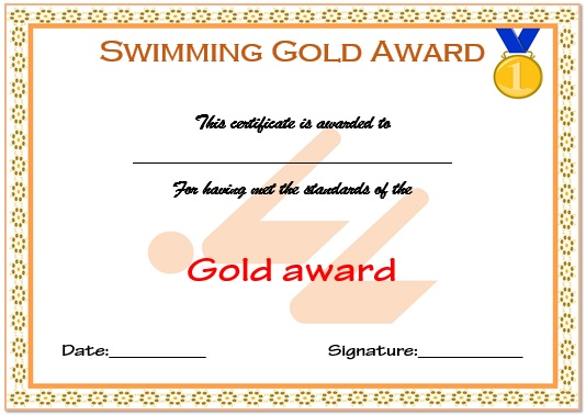 Swimming Gold Certificate