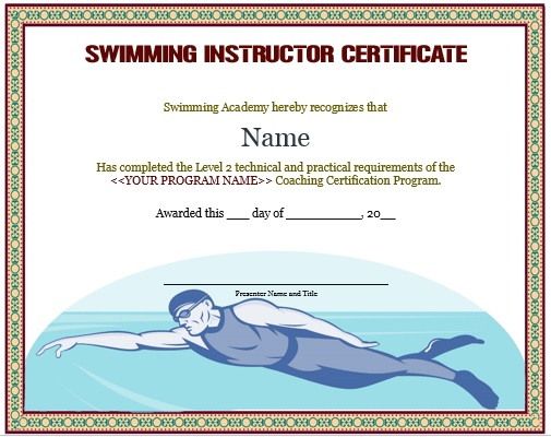 Swimming Instructor Certificate