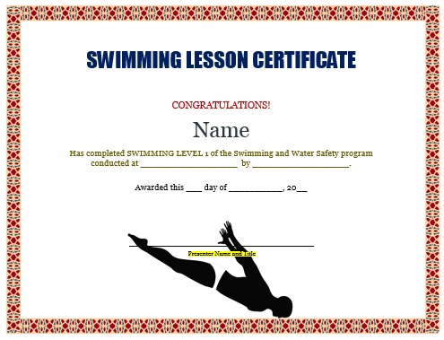 Swimming Lesson Certificate Template