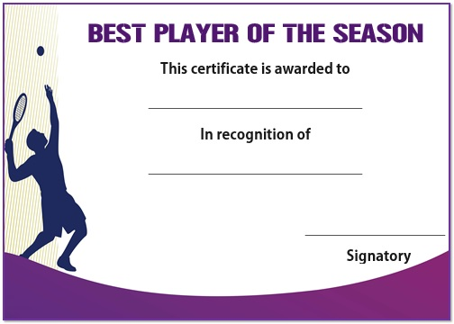 Tennis best player of season certificate